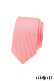 Štruktúrovaná slim kravata v lososovej farbe