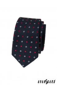 Modrá slim kravata s bielo-modrým vzorom