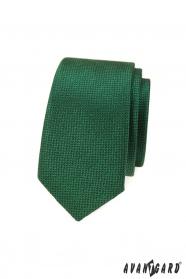 Zelená slim kravata so štruktúrou povrchu