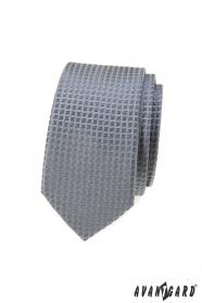 Šedá slim kravata s kockovaným vzorom