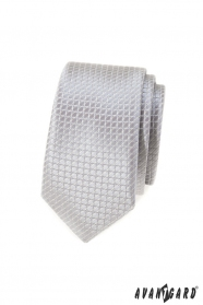 Šedá kockovaná slim kravata