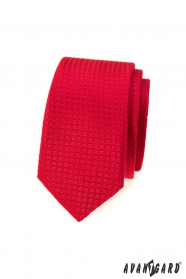 Červená kockovaná slim kravata