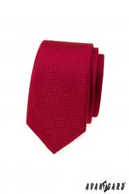 Červená slim kravata so štruktúrou povrchu