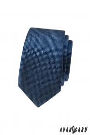 Tmavo modrá slim kravata s prepletaným vzorom