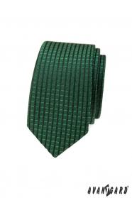 Zelená slim kravata s kockovaným 3D vzorom