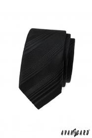 Čierna slim kravata s rôznymi pruhmi