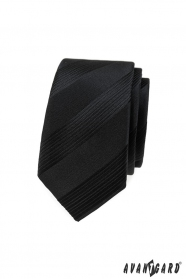 Čierna pánska slim kravata s pruhmi