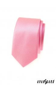 Úzka kravata Avantgard ružová kocka