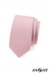 Kravata SLIM pudrová ružová MAT