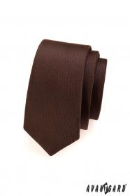 Jednofarebná hnedá matna kravata SLIM