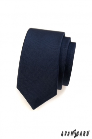 Hladká modrá úzka kravata SLIM