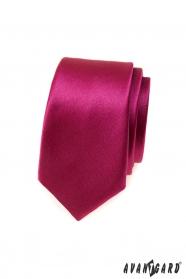 Pánska slim kravata v lesklej bordó