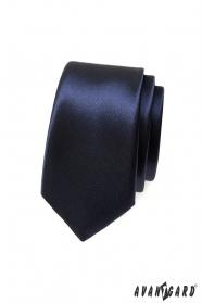 Hladká tmavomodrá úzka kravata