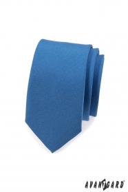 Úzka jednofarebná kravata SLIM - Modrá mat