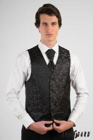 Čierna vzorovaná pánska vesta s francúzskou kravatou