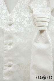 Smetanová svadobná vesta a francúzska kravata s jemným vzorom