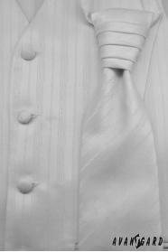 Svadobná vesta s viazankou a vreckovkou - Biela jemná linka