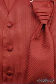 Svadobná vesta s viazankou a vreckovkou bordó štruktúrovaná