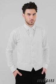 Pánska svadobná vesta biela diagonála