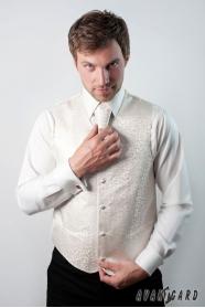 Smotanová pánska vesta s francúzskou kravatou