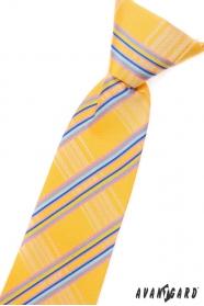 Chlapčenská kravata žltá s modrými prúžkami