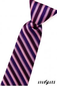 Chlapčenská kravata ružové modré a fialové pruhy