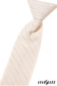 Chlapčenská kravata smotanová s linkou