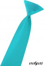 Chlapecká kravata tyrkysová štvorčeky