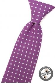 Chlapčenská kravata fialová s bielymi bodkami