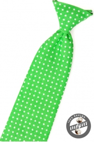 Chlapčenská kravata zelená s bielymi bodkami