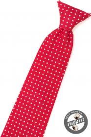 Červená chlapčenská kravata s bielou bodkou