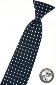 Tmavo modrá chlapčenská kravata s bielou bodkou