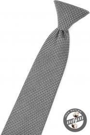 Čierna chlapčenská kravata s šedým vzorom
