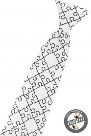 Biela chlapčenská kravata Puzzle