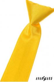 Chlapčenská kravata žltá hladká