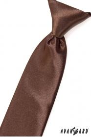 Chlapčenská kravata hnedá lesk