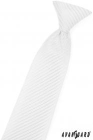 Biela chlapčenská kravata s lesklým prúžkom