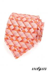 Pánska kravata oranžová geometrické tvary