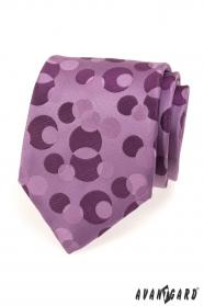 Pánska kravata fialová s bublinami