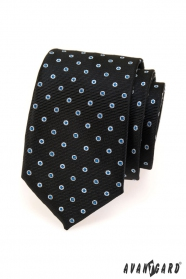 Pánska kravata - Čierna s modro bielou bodkou