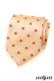 Pánska kravata - Lososová s oranžovou bodkou