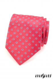 Ružová pánska kravata modré biele štvorčeky