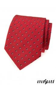 Pánska kravata červená s čiernobielymi štvorčekmi