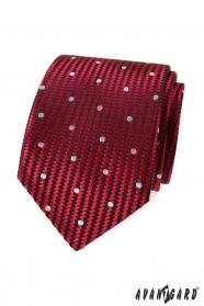 Červená štruktúrovaná kravata veľké biele bodky