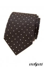 Hnedá kravata so svetlými bodkami