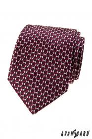 Bordó kravata s trojuholníkovým vzorom