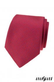 Červená kravata s modrými bodkami