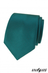 Tyrkysová kravata s čiernymi štvorčekmi