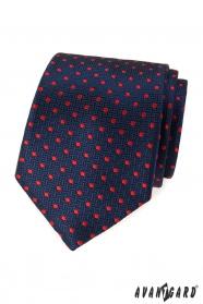Modrá štruktúrovaná kravata s červenými bodkami