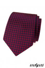 Pánska kravata bordó modré štvorčeky